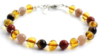 Honey, Sterling Silver 925, Baltic, Jewelry, Bracelet, Amber, Polished, Beaded