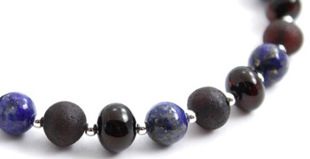 Cherry, Silver, Amber, Polished, Raw, Lapis Lazuli, Sterling 925, Baltic, Jewelry 2