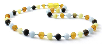 Necklace, Teething, Raw, Aquamarine, Unpolished, Blue, Baltic Amber, Boy