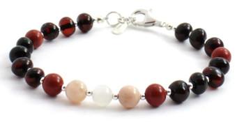Red Jasper, Amber, Silver, Sunstone, Bracelet, Baltic Jewelry, Cherry, Moonstone, Sterling 925