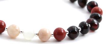 Red Jasper, Amber, Silver, Sunstone, Bracelet, Baltic Jewelry, Cherry, Moonstone, Sterling 925 2