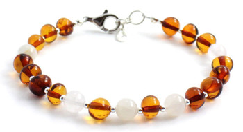 Cognac, Bracelet, Sterling 925, Silver, Amber, Baltic Jewelry, Polished, Certified, Moonstone