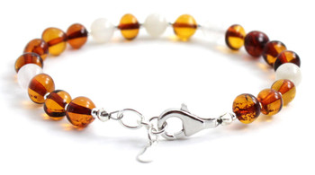 Cognac, Bracelet, Sterling 925, Silver, Amber, Baltic Jewelry, Polished, Certified, Moonstone 2