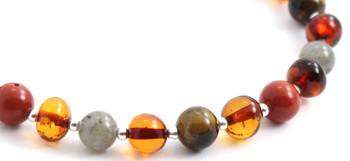 Cognac, Labradorite, Bracelet, Amber, Baltic, Beaded, Red Jasper, Tiger Eye, Sterling Silver 2