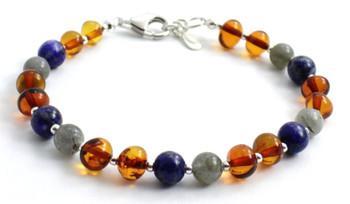 Lapis Lazuli, Bracelet, Sterling 925, Amber, Silver, Baltic, Jewelry, Labradorite, Beaded