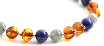Lapis Lazuli, Bracelet, Sterling 925, Amber, Silver, Baltic, Jewelry, Labradorite, Beaded 2