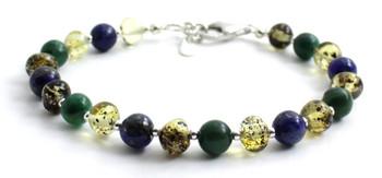 African Jade, Amber, Green, Baltic Jewelry, Bracelet, Polished, Lapis Lazuli, Beaded