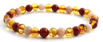 Red Jasper, Honey, Baltic, Stretch, Bracelet, Sunstone, Polished, Jewelry