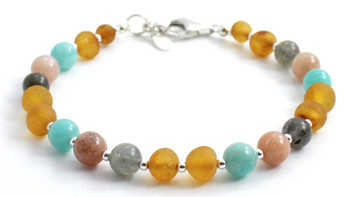 Labradorite, Honey, Raw, Baltic, Unpolished, Amber, Sunstone, Green, Amazonite, Bracelet