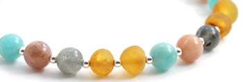 Labradorite, Honey, Raw, Baltic, Unpolished, Amber, Sunstone, Green, Amazonite, Bracelet 2