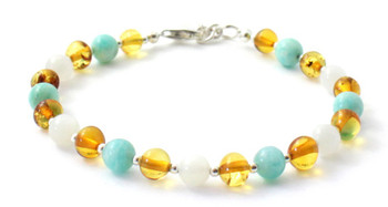 Moonstone, Baltic Jewelry, White, Amazonite, Amber, Bracelet, Silver, Sterling 925, Green