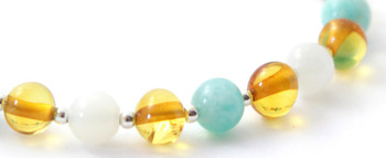Moonstone, Baltic Jewelry, White, Amazonite, Amber, Bracelet, Silver, Sterling 925, Green 2