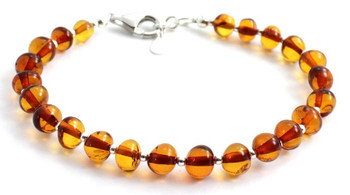 Silver, Bracelet, Cognac, Sterling 925, Baltic Amber, Polished, Jewelry, Beaded