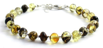 Silver, Green, Amber, Bracelet, Sterling 925, Jewelry, Polished, Baltic, Authentic
