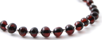 Baltic, Jewelry, Anklet, Cherry, Black, Polished, Women, Amber, Sterling Silver 925 2