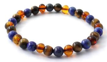 Cognac, Tiger Eye, Amber, Polished, Stretch, Lapis Lazuli, Polished, Baltic Jewelry