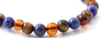Cognac, Tiger Eye, Amber, Polished, Stretch, Lapis Lazuli, Polished, Baltic Jewelry 2