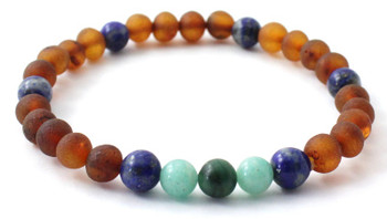 Stretch Bracelet, Amazonite, Amber, Raw, Cognac, Baltic, African Jade, Green, Lapis Lazuli