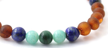 Stretch Bracelet, Amazonite, Amber, Raw, Cognac, Baltic, African Jade, Green, Lapis Lazuli 2