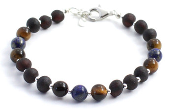 Lapis Lazuli, Baltic, Cherry, Silver, Amber, Sterling 925, Raw, Unpolished, Bracelet, Tiger Eye