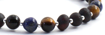 Lapis Lazuli, Baltic, Cherry, Silver, Amber, Sterling 925, Raw, Unpolished, Bracelet, Tiger Eye 2