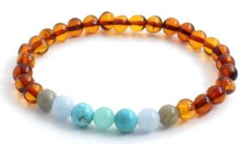 Labradorite, Stretch, Jewelry, Baltic Amber, Bracelet, Polished, Cognac, Amazonite, Turquoise, Gemstone