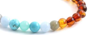 Labradorite, Stretch, Jewelry, Baltic Amber, Bracelet, Polished, Cognac, Amazonite, Turquoise, Gemstone 2