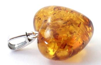 Heart Shape, Cognac, Pendant, Jewelry, Silver, Amber, Baltic, Sterling 925, Milky 6