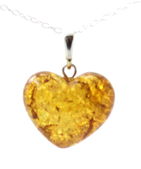 Heart Shape, Cognac, Pendant, Jewelry, Silver, Amber, Baltic, Sterling 925, Milky 5