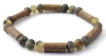 Bracelet, Unpolished, Green, Amber, Baltic, Stretch, Hazelwood, Jewelry, Natural