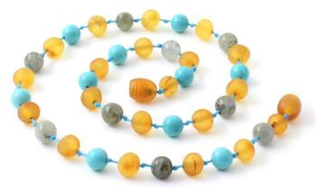Amber, Turquoise, Raw, Unpolished, Honey, Necklace, Adult, Baby, Teething, Jewelry, Gemstone 2