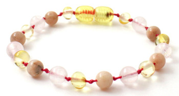 Sunstone, Lemon, Anklet, Teething, Bracelet, Polished, Rose Quartz, Baltic Amber