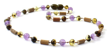 Hazelwood, Green, Amber, Polished, Baltic, Amethyst, Necklace, Jewelry
