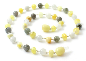 Milky, Labradorite, Polished, Baltic Amber, Butter, Teething, Moonstone, Necklace 2