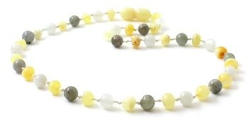 Milky, Labradorite, Polished, Baltic Amber, Butter, Teething, Moonstone, Necklace