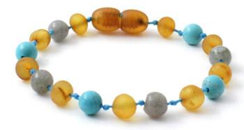 Turquoise, Anklet, Labradorite, Bracelet, Baltic Amber, Raw, Honey, Unpolished, Teething