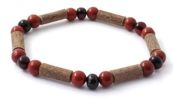 Amber, Red Jasper, Stretch, Jewelry, Bracelet, Hazelwood, Baltic, Natural, Cherry, Polished