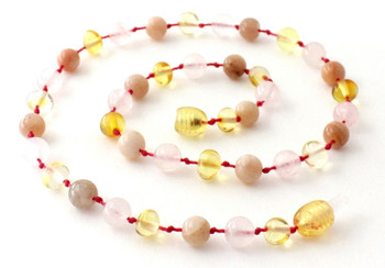 Rose Quartz, Lemon, Polished, Sunstone, Baltic Amber, Girl, Teething, Necklace 2