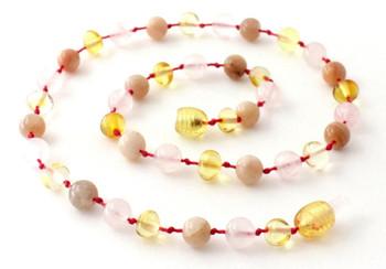 Rose Quartz, Lemon, Polished, Sunstone, Baltic Amber, Girl, Teething, Necklace 2