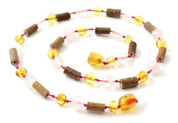 Amber, Honey, Hazelwood, Necklace, Baltic, Jewelry, Polished, Rose Quartz, Teething 2