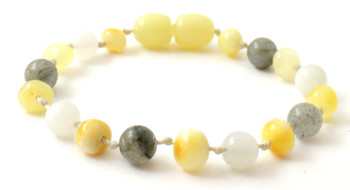 Polished Milky, Bracelet, Labradorite, Baltic Amber, Anklet, Jewelry, Teething, Moonstone