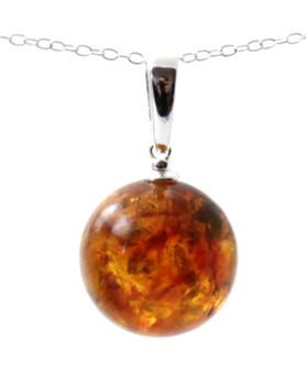 Cognac Silver Amber Pendant Baltic Amber-Cognac Amber Nest Pendant