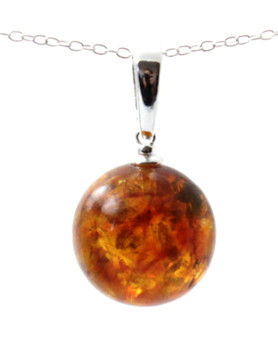 Round, Ball, Amber, Pendant, Jewelry, Cognac, Silver, Baltic, Sterling 925, Cognac