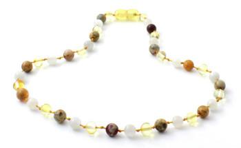 Moonstone, Lemon, Necklace, Amber, Crazy Agate, Teething, Polished, White, Gemstone 2