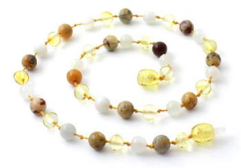 Moonstone, Lemon, Necklace, Amber, Crazy Agate, Teething, Polished, White, Gemstone 3