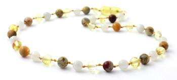 Moonstone, Lemon, Necklace, Amber, Crazy Agate, Teething, Polished, White, Gemstone