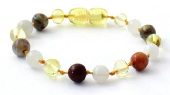 Bracelet, Authentic, Amber, Lemon, Polished, Teething, Anklet, Crazy Agate, Gemstone, Moonstone