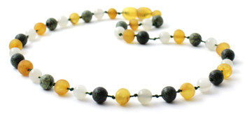 Honey, Green Lace Stone, Necklace, Baltic, Teething, Moonstone, Amber, Raw