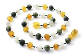 Honey, Green Lace Stone, Necklace, Baltic, Teething, Moonstone, Amber, Raw 2