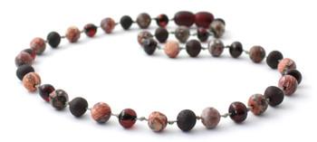 Necklace, Cherry Amber, Polished, Raw, Teething, Adult, Jewelry, Leopardskin, Gemstone, Jasper